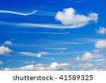 mare's tails wispy cirrus clouds - stock photo