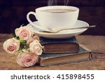 a cup of tea and roses. vintage ... | Shutterstock . vector #415898455