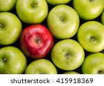 unique. red apple among group... | Shutterstock . vector #415918369