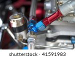 red and blue fuel line fitting. | Shutterstock . vector #41591983