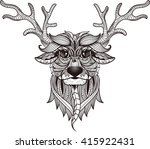 deer head stylized in zentangle ... | Shutterstock .eps vector #415922431