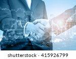 double exposure of handshake... | Shutterstock . vector #415926799