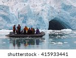 a small rubber dingy in front... | Shutterstock . vector #415933441