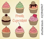 set of hand drawn cupcakes in... | Shutterstock . vector #415943947