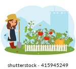girl on the farm caring for... | Shutterstock .eps vector #415945249