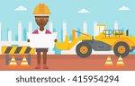 engineer holding a blueprint. | Shutterstock .eps vector #415954294