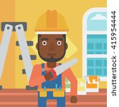 smiling worker with saw. | Shutterstock .eps vector #415954444