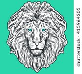 hand drawn lion head isolated.... | Shutterstock .eps vector #415964305