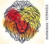 hand drawn lion head on splash... | Shutterstock .eps vector #415964311