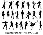 group of dancing people in...   Shutterstock . vector #41597860