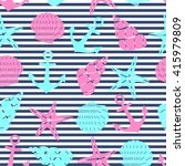 nautical seamless pattern with... | Shutterstock .eps vector #415979809