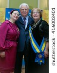 "Small photo of Kyiv, Ukraine - March 6, 2010: Nina Matviyenko (L) Leonid Kravchuk, Ada Rogovtseva (R) during the awarding the title of ""Queen of success 2010"""