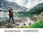 girl explores wall lake... | Shutterstock . vector #416005291