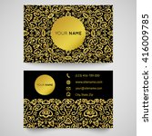 gold business card template ... | Shutterstock . vector #416009785