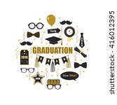 graduation 2016 icon elements.... | Shutterstock .eps vector #416012395