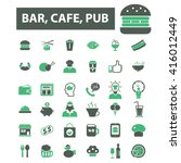 bar  cafe  cafeteria  pub icons  | Shutterstock .eps vector #416012449