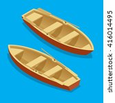 Wooden Rowing Boat Isolated....