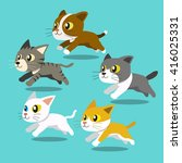 Stock vector cartoon cats running set 416025331