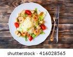 fresh caesar salad on white... | Shutterstock . vector #416028565