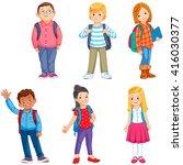 pupils with school backpacks   Shutterstock .eps vector #416030377