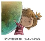 child embracing the world | Shutterstock . vector #416042401