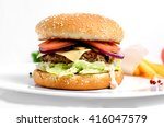 burger full face with...   Shutterstock . vector #416047579
