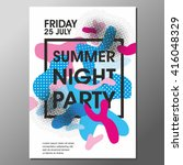 summer night party vector flyer ... | Shutterstock .eps vector #416048329