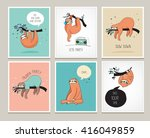 cute hand drawn sloths  funny... | Shutterstock .eps vector #416049859