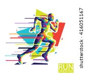abstract running man. style... | Shutterstock .eps vector #416051167