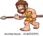 Scared Cartoon Caveman. Vector...