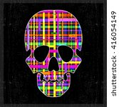 decorative skull with abstract... | Shutterstock .eps vector #416054149