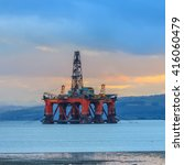 semi submersible oil rig at... | Shutterstock . vector #416060479