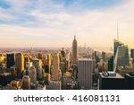 new york city skyline at sunset | Shutterstock . vector #416081131