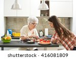 grandmother with granddaughter... | Shutterstock . vector #416081809
