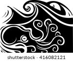 woodcut style octopus beneath... | Shutterstock .eps vector #416082121