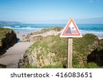 Cliff Edge Warning Sign On A...