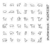 animal icons. vector outline... | Shutterstock .eps vector #416092387