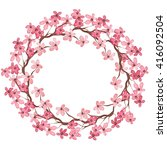 wreath with watercolor pink... | Shutterstock . vector #416092504