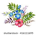 a set floral bouquets. four... | Shutterstock . vector #416111695