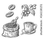 sack with coffee beans with... | Shutterstock .eps vector #416118151