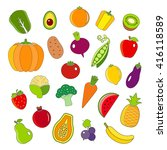 organic fruits and vegetables... | Shutterstock . vector #416118589