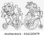 two clowns. two cheerful circus ... | Shutterstock .eps vector #416120479