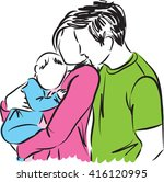 happy parents with baby... | Shutterstock .eps vector #416120995