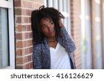 african american  sad  bad mood ... | Shutterstock . vector #416126629