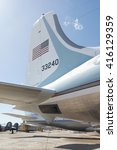 Small photo of Tucson, Arizona, USA - April 25, 2016: tail of presidential aircraft Airforce One Douglas VC-118A LiftMaster used by presidents Kennedy & Johnson 1961 - 1965 in the Pima Air & Space Museum.