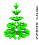 abstract 3d illustration of stylized christmas tree isolated over white background - stock photo