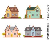set of cute vector cartoon...   Shutterstock .eps vector #416142679