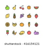 fruits and vegetables colorful... | Shutterstock . vector #416154121