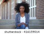 african american student girl ... | Shutterstock . vector #416159014