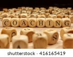 coaching word written on wood... | Shutterstock . vector #416165419